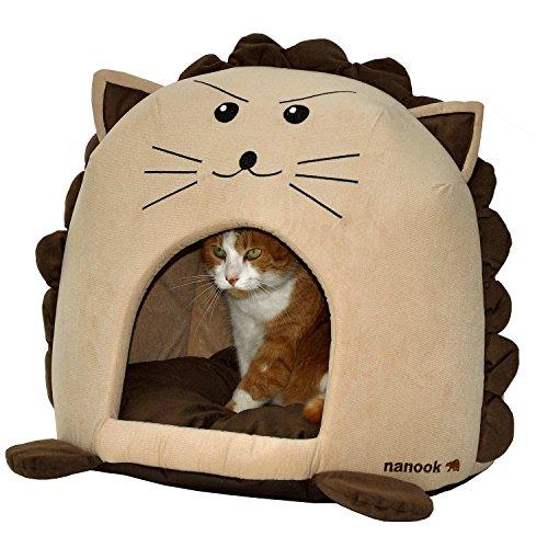 """nanook \""""Sweety - Hundehöhle Katzenhöhle - mit großem Kissen, Wasserabweisend, Rutschfest - Motiv: Tiger - Größe L (42 x 42 x 36 cm)"""