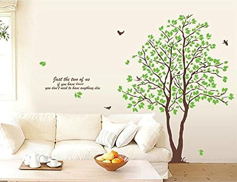 sunnymi Wall Sticker★Aufkleber 3D★Grün Paar Baum/60 x 90cm/Mädchen Schlafzimmer Dekoration/Abnehmbare Wandtattoo Stereoskopischer/Kinderzimmer Mauerdekor Wandaufkleber