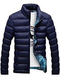 Hombres Color mezclado acolchada de outwear abrigo anorak invierno chaqueta abajo Abrigo acolchado Azul marino M