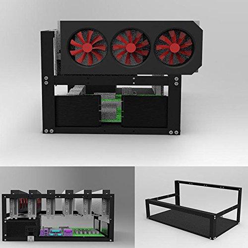 Rokoo Moneda de acero Open Air Miner Mining Frame Rig Case hasta 6 GPU