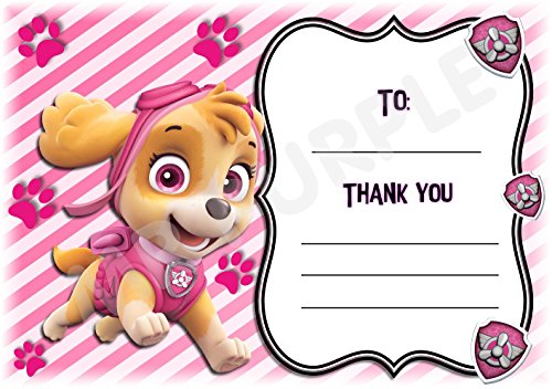 Paw Patrol Thank You For Coming Party Karten – Skye Pink Streifen Design – Party Supplies/Zubehör (12 Stück A6 Thank You Karten) WITHOUT Envelopes