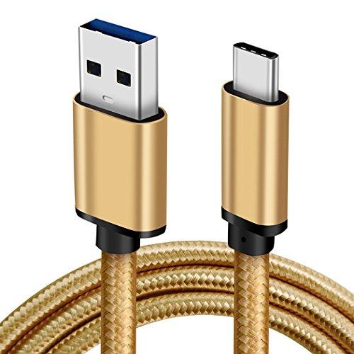 LoongGate Super schnelle USB 3,0 zum Typ C-Kabel, USB 3,0 bis USB-C 3,1 Unterstützung 5V 3A QC 3,0 Aufladen von Nylon-geflochtenen Kabel für Galaxy S8/S9 Plus (2m, Gold)