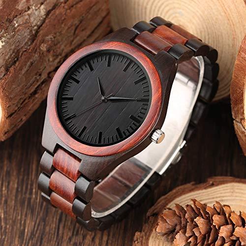 YLFDC Holzuhren Herren Holz Uhr Faltschließe Band Armbanduhr Analog Design Quarzuhr Bambus natürliche Woody Armbanduhren für Männer