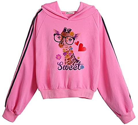So'each Women's Sweet Giraffe Love Batwing Hooded Pullover Midriff Sweatshirt