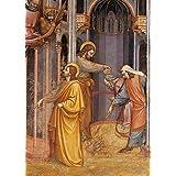 "Cuadro con marco: Jacopo Avanzi ""Il Santo"" - Impresión artística decorativa con marco de alta calidad, 40x60 cm, Negro / canto gris"