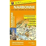 Plan de ville de Narbonne avec plan détaillé du centre-ville - Echelle : 1/8 500