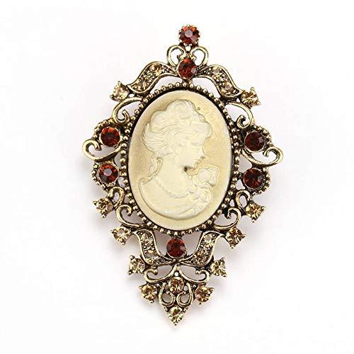 CCJIAC Kristallrhinestone-Weinlese-viktorianische Art-Miniatur-Brosche-Elegante Dame Scarf Beauty Head Brooch Pins - Pin Head Kostüm