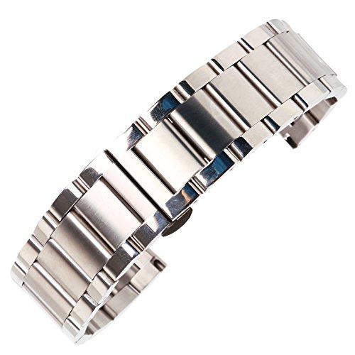 20mm Qualität gefrostet Silber Uhrenarmband aus massivem Edelstahl intelligenter Uhrenarmband Faltschließe