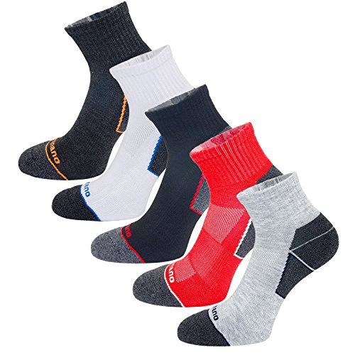 Aaronano 5 Pairs Men Half Cushioned Terry Athletic Running Length Socks Size(5.5-11 UK/38-46 EU)