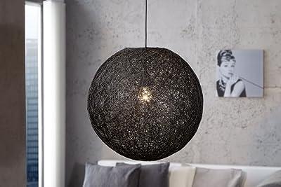 Hängeleuchte FineBuy Cocoon L Ø 45 cm kugelförmig Sisal Optik Farbe wählbar, Farbe:Schwarz von FineBuy auf Lampenhans.de