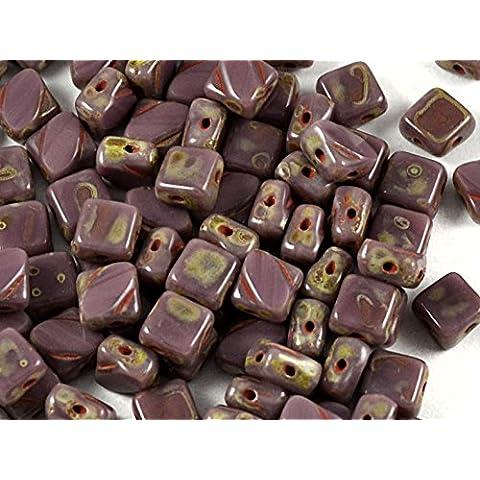 24pcs Silky Cut Beads - Czech perle di vetro schiacciate, scolpito piazze 6x6mm con due fori in diagonale, Opaque Violet Travertine Dark
