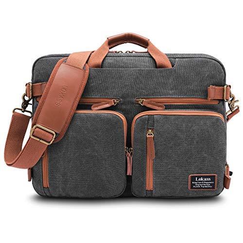 Rucksack Bag New-handtaschen (CoolBELL Convertible Rucksack Messenger Bag Umhängetasche Laptop Tasche Handtasche Business Aktentasche Multifunktionaler Reiserucksack passend für 17,3 Zoll Laptops 17.3 Inches New Canvas Dark Grey)