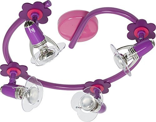 Kinderzimmer Lampe / Lila, Rosa / 4-flammiger Bogen / E14 bis 40W 230V / Holz & Kunststoff / Holzlampe / Lampe Blumen Motiv / Leuchte Kinder / Kinderzimmerlampe lila, rosa / Kinderleuchten / Leuchte Mädchen