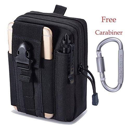 Hipier Multifunktions Taktische Hüfttaschen Molle EDC Tasche Gürtel Handy Outdoor Tactical Beutel Utility Pouch klein mit Aluminiumkarabiner (Schwarz)
