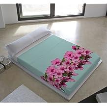 Devota & Lomba 43286 - Juego de sábanas compuesto por encimera, 210 x 270 cm, bajera, 135 x 190/200 cm, funda para almohada, 45 x 110 cm, diseño flor almendro