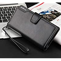 Men business casual long paragraph hasp wallet phone package multifunction hand bag QB57A Black