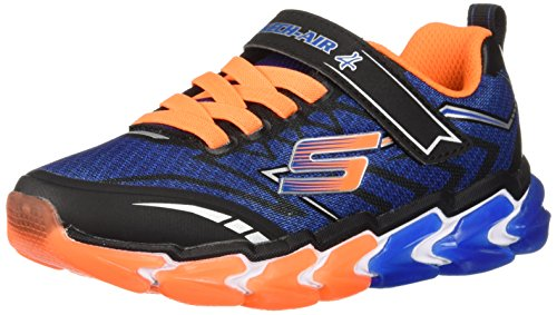 Skechers Kids Boys' Skech-Air 4-Flexo Track Sneaker, Black/Blue/Orange Little Kid