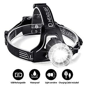 Superhelle LED Stirnlampe,SGODDE LED Kopflampe,wasserdicht Fokus mit einstellbarer Sensor-Modus,LED Stirnlampen, LED Kopflampen, Kopfleuchten, leicht und superhell, ideal für Wandern, Camping, Ausflu