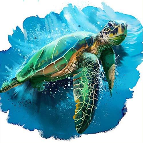 gllcyl Malen Nach Zahlen Ölgemälde Tier Schildkröten Runde/Sqaure DIY Ölgemälde Sea Home Dekorative Digitales Ölgemälde Leinwand Kits Für Erwachsene Kinder 40X50Cm