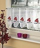 Bistrogardine, Kaffehausgardine 'Weihnachts-Katze'. Farbe: rot, 45x95 cm