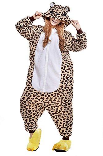 URVIP Erwachsene Unisex Jumpsuit Tier Cartoon Fasching Halloween Pyjama Kostüm Onesie Fleece-Overall Schlafanzug Leopard Bär Medium