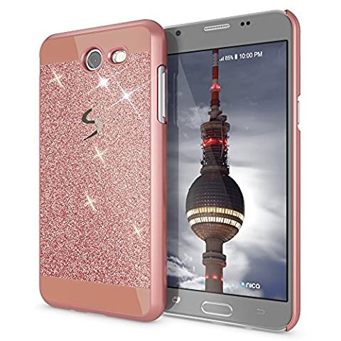 Samsung Galaxy J5 2017 (US-Model) Hard-Case by NICA, Sparkly Mobile Phone Back-Cover Ultra-Thin Skin Protector, Glitter Shock-Proof Bumper Slim-Fit Protective Bling Backcase for J5-17, Color:Rose