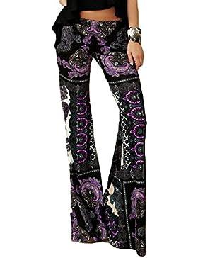 Fangcheng Mujer Pantalones Bootcut Pantalones Acampanados Pantalones Marlene de Cintura Alta Estampado de Flores...