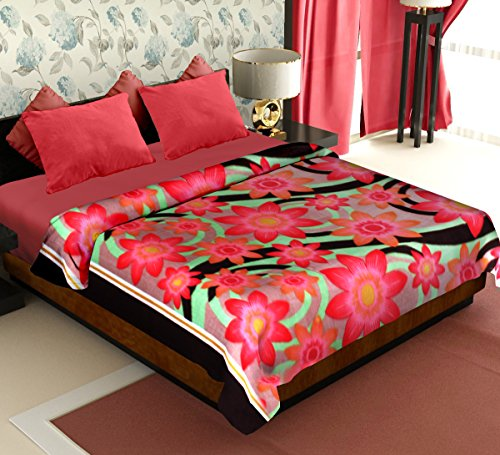 Story@Home Coral Collection Soft Printed Fleece Mink Polyester Double Bed Blanket - Green  available at amazon for Rs.299