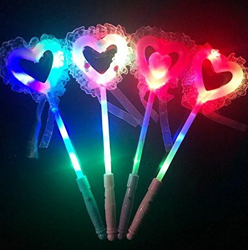 UChic 3 STÜCKE Weihnachten Flashing Stick Herz Fee Stick licht Zauberstab Konzert Jubeln Requisiten Party Supplies Glow Mit Spitze Herz Zauberstab Farbe Zufällig