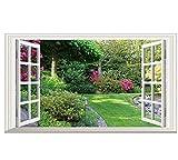 FEDZH Grüne Blumen Garten Landschaft 3D Gefälschte Fenster Vinyl Wandaufkleber Schlafzimmer Wohnzimmer Dekoration Landschaft Tapete(60Cm X 90Cm)