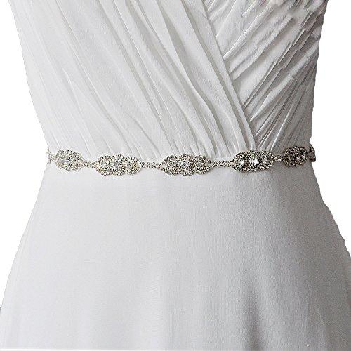 Brautgürtel Taillenband Damen Gürtel Abendkleidgürtel Strass Perlen Weiß Ivory Damengürtel Strassgürtel Satinband Satin Band (Ivory)