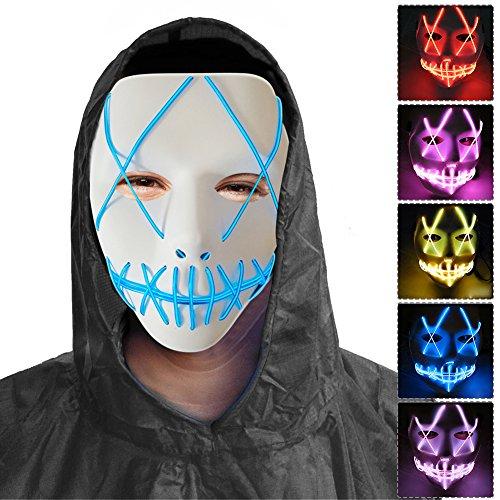 (Samber Grinsmaske Halloween Cosplay LED Kostüm Maske EL Draht Licht Grin Maske für Festival Party Kostüm)