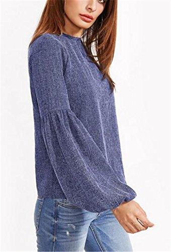 BESTHOO Donna Maglietta Manica Lunga Girocollo Allentato Casuale Camicetta Eleganti T-Shirt Cucitura Tops Moda Blue