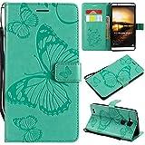 Huawei Mate 7 Hülle, Conber Lederhülle Handyhülle mit [Kostenlose Schutzfolie], PU Tasche Leder Flip Case Cover Emboss 3D Schmetterling Schutzhülle für Huawei Mate 7 - Grün