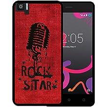 Funda Bq Aquaris M5, WoowCase [ Bq Aquaris M5 ] Funda Silicona Gel Flexible Microfono Estrella de Rock, Carcasa Case TPU Silicona - Negro