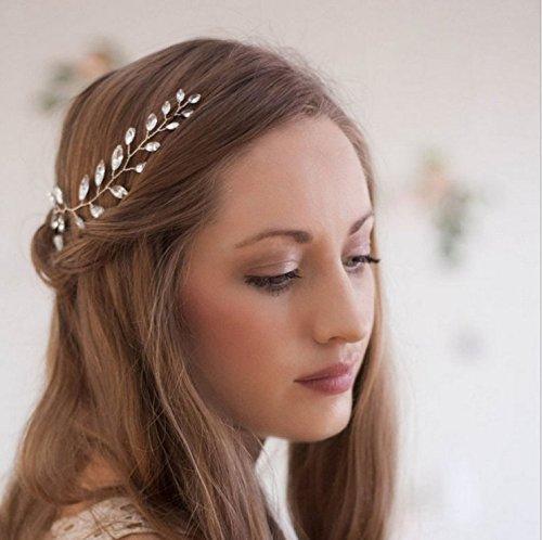 aukmla Brautschmuck Haarband für Brautjungfern und Blumenmädchen mit Strass Kopfbedeckung Hochzeit Tiara