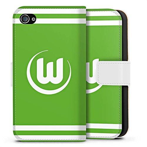 Apple iPhone X Silikon Hülle Case Schutzhülle Vfl Wolfsburg Fanartikel Wölfe Fussball Sideflip Tasche weiß