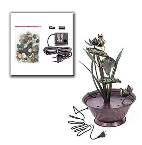 Zimmerbrunnen Metall Pflanzen Topf - Kupfer Blumen Design Brunnen Feng Shui von Haus der Herzen ®