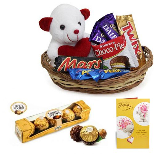 Chocolate Gift Basket With birthday Card