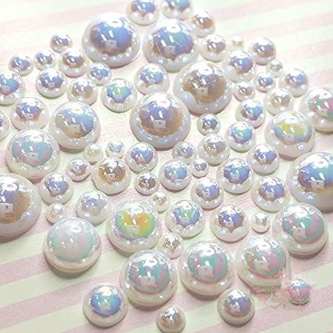 200 Stück 2mm -10mm weißes Harz Faux runde glänzende Perlen Flatback Mix Größe Cabochonship mit FREE GESCHENK von LEYOYO