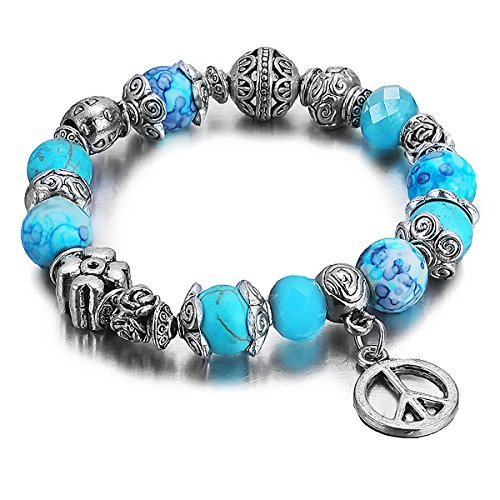 PAPAYANA A189 Modisches Glas Perlen Damen Charm-Armband versilbert großer PEACE Zeichen Anhänger Bead (Großes Zeichen Peace Halskette)