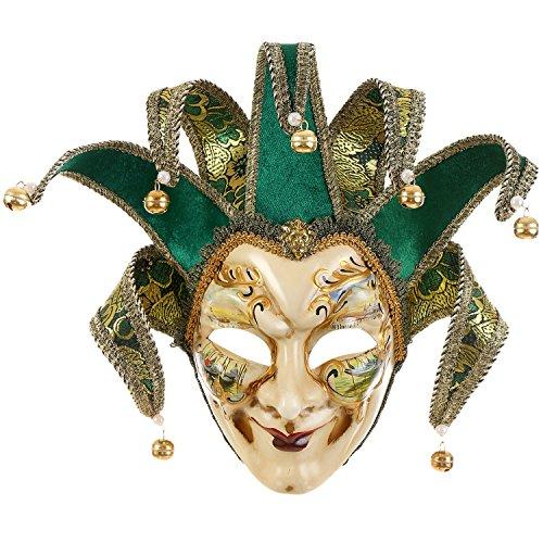 Venedig Joker Kostüm - Full Face venezianische Jester Maske Masquerade grün handbemalt Joker Wall Dekorative Art Collection