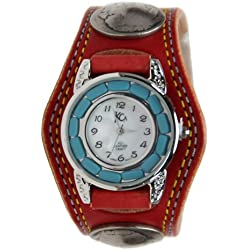 Kc,s Leather Craft Watch Bracelet Turquoise Movemnet 3 Concho Double Stitch Color Red