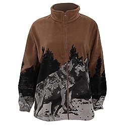 Womens/Ladies Mountain Husky Dogs Design Full Zip Fleece Jacket