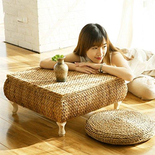 Table basse de style japonais en rotin fait main Table basse en bois de baie vitrée table basse de balcon (Size : 60*60*30cm)