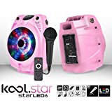 Altavoz Mobile Karaoke rosa con LEDs RGB–/BT + Micro USB con cable + Tél–koolstar starled6
