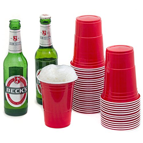 Rote Partybecher Trinkbecher (100 Stück) ★16 oz★ Rote Beer Pong Party Cups Einwegbecher (Red Cups Party)