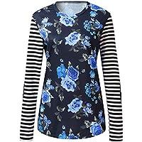 Luckycat Tops de Camisa Mujer Blusas Tallas Grandes Camiseta Manga Larga Floral Impresión O-Cuello Franja Sudadera