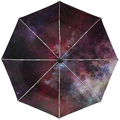 Paraguas automático Stars Galaxy Space Travel Conveniente a Prueba de Viento Impermeable Secado rápido Plegado Automático Abrir Cerrar