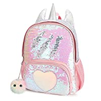 CMK Unicorn Backpack for Girls Kids Pink Sequin School Bag